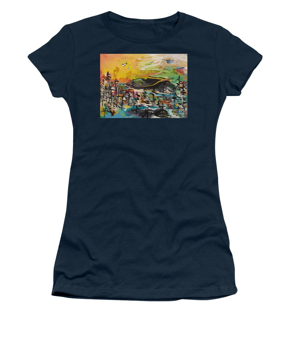 Abstract Paintings Women's T-Shirt featuring the painting Bummer Flat2 by Seon-Jeong Kim