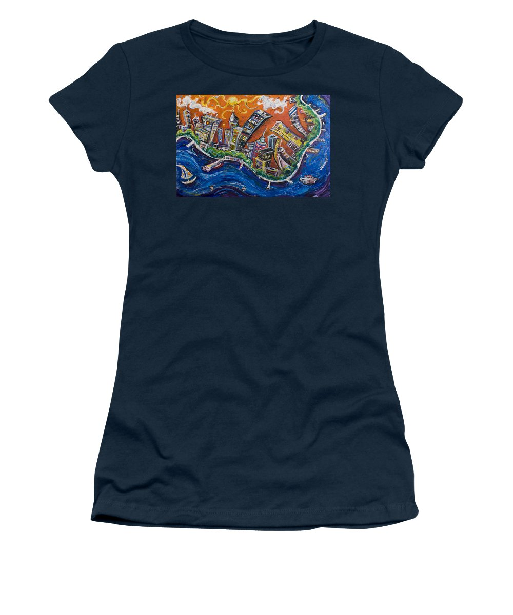 New York City Manhattan Hudson River Women's T-Shirt (Athletic Fit) featuring the painting Burning City by Jason Gluskin