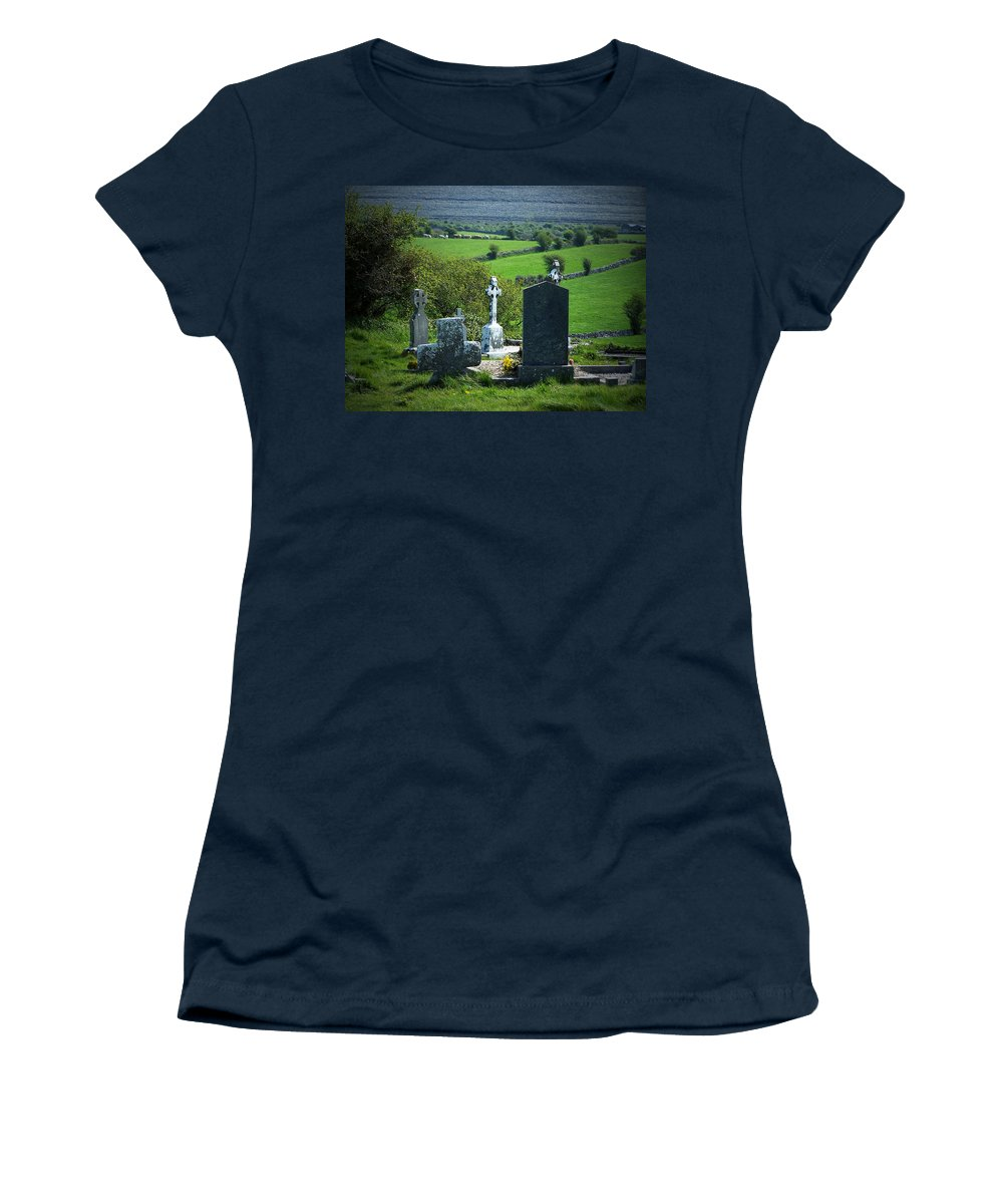Irish Women's T-Shirt (Athletic Fit) featuring the photograph Burren Crosses County Clare Ireland by Teresa Mucha