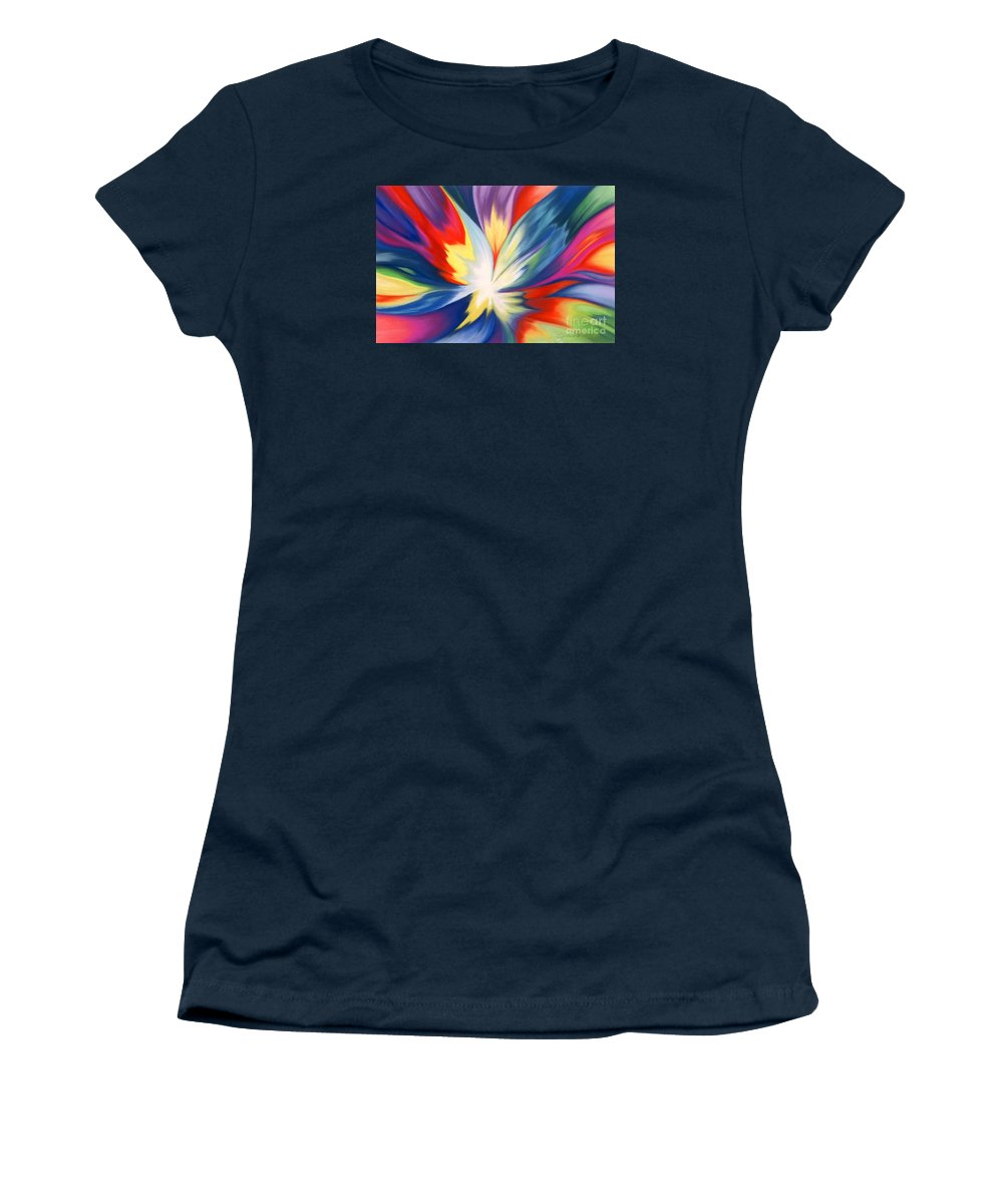 Abstract Women's T-Shirt (Athletic Fit) featuring the painting Burst Of Joy by Lucy Arnold