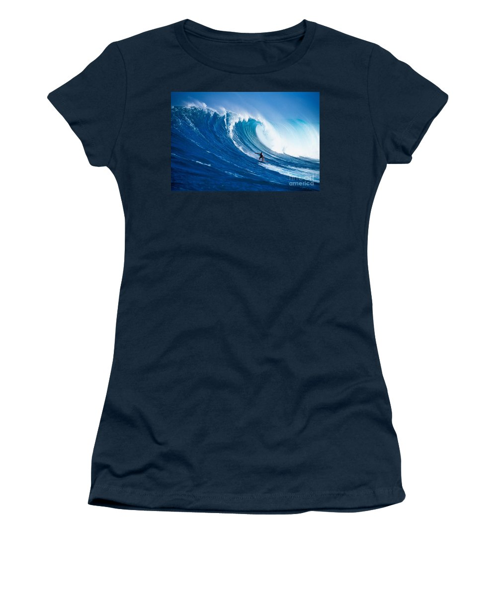 Adrenaline Women's T-Shirt featuring the photograph Buzzy Kerbox Surfing Big by Erik Aeder - Printscapes
