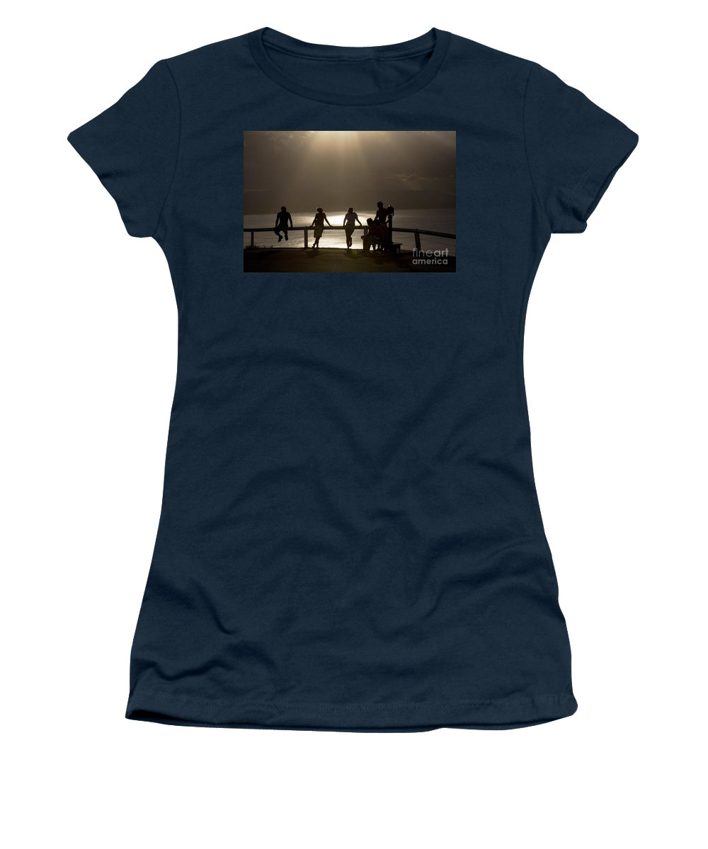 Byron Bay Lighthouse Silhouette Sunset Rays Women's T-Shirt featuring the photograph Byron Bay lighthouse by Sheila Smart Fine Art Photography