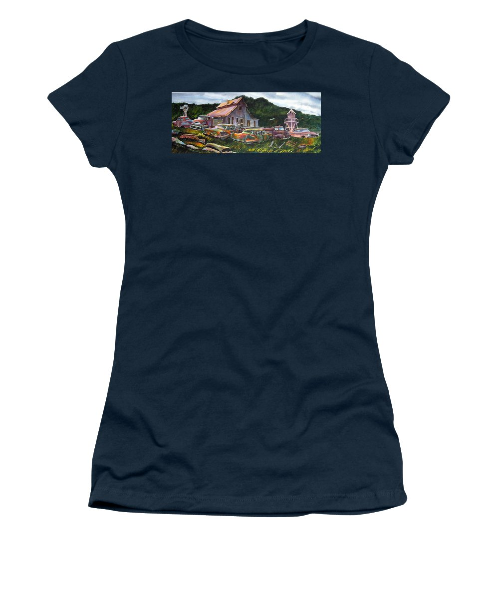 Cadillacs Women's T-Shirt featuring the painting Cadillac Ranch by Ron Morrison