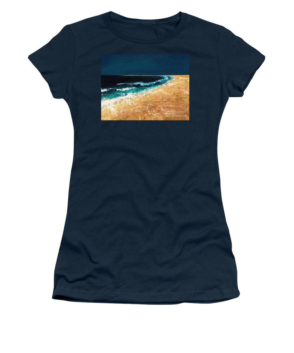 Ocean Tide Women's T-Shirt (Athletic Fit) featuring the painting Calming Waters by Frances Marino