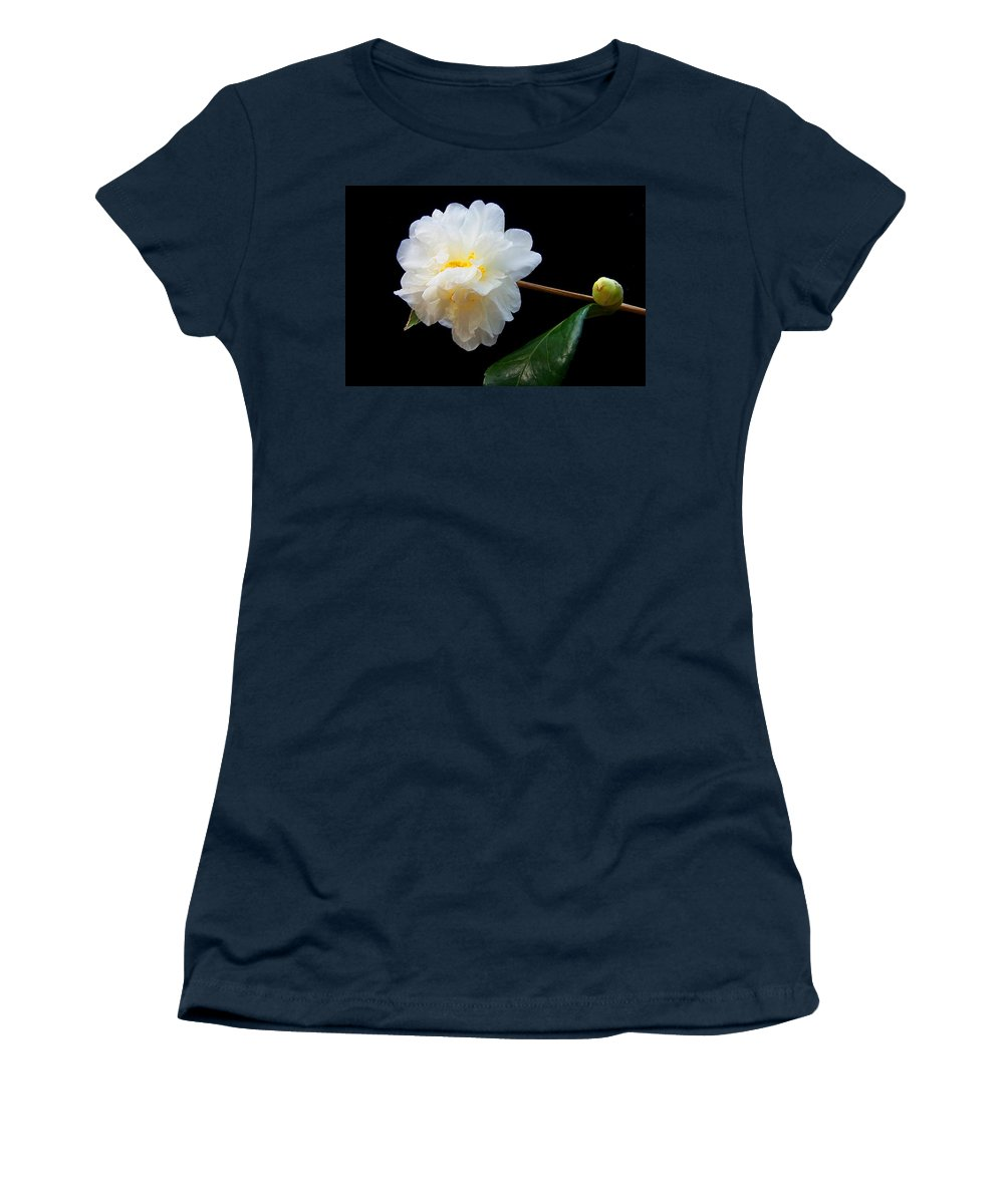 Camelia Women's T-Shirt featuring the photograph Camelia Trio by Laurie Paci