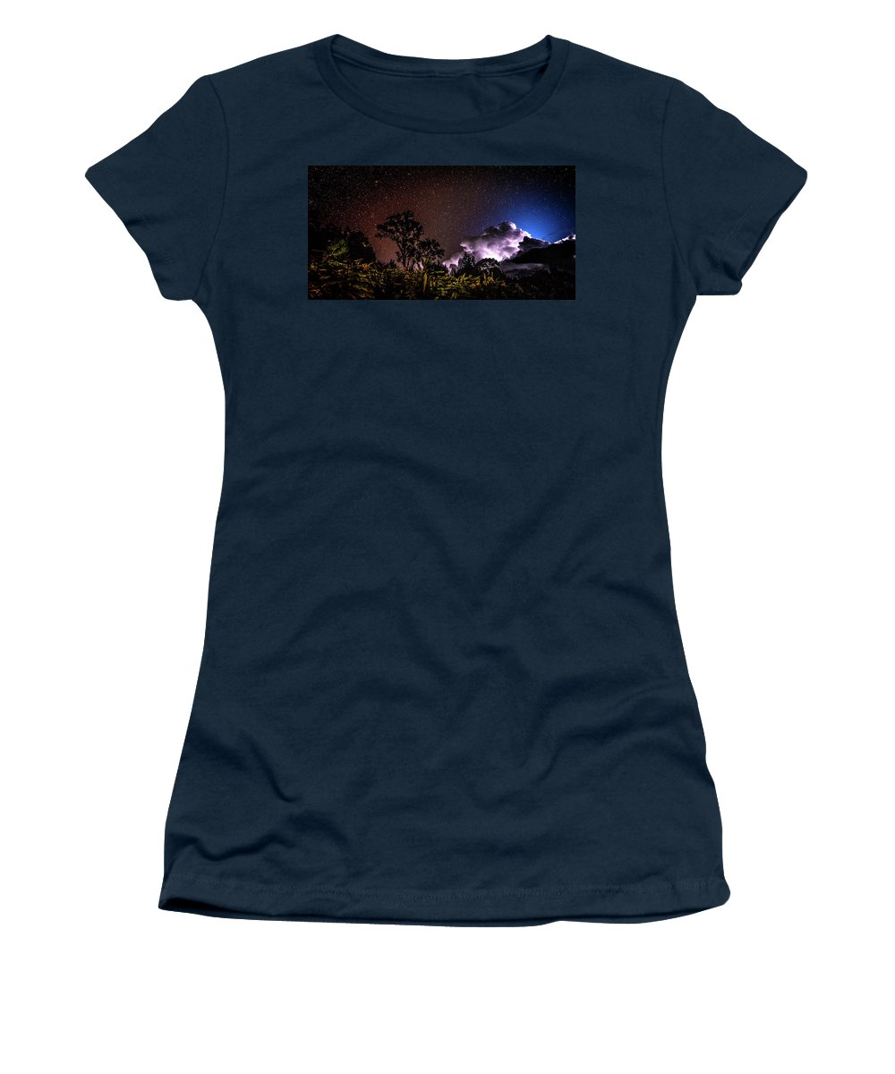Camping Women's T-Shirt (Athletic Fit) featuring the photograph Camping On The Volcano by T Brian Jones