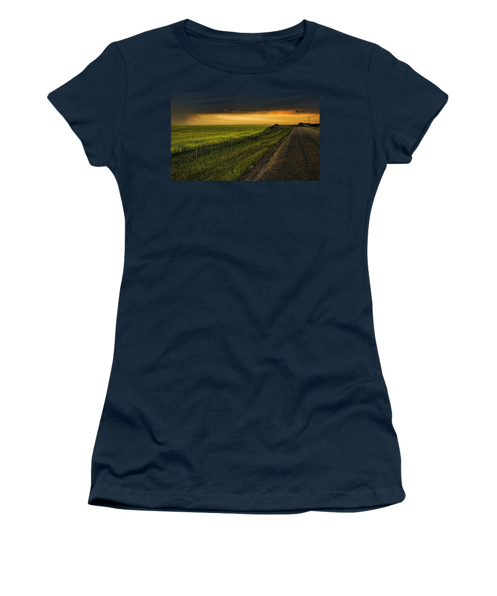 Canola Women's T-Shirt featuring the photograph Canola And The Road Ahead by Wayne Sherriff