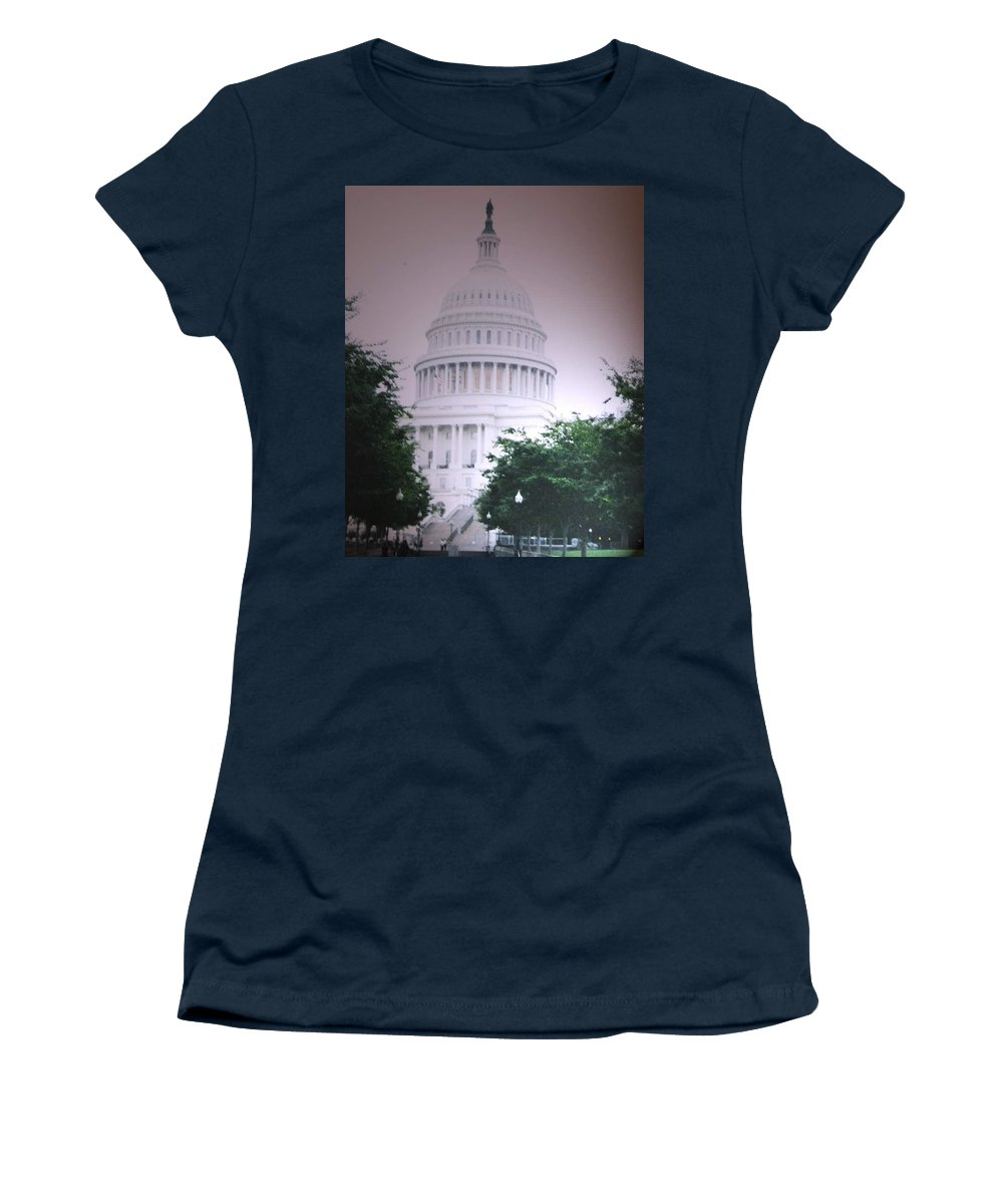 Capitol Women's T-Shirt (Athletic Fit) featuring the photograph Capitol In Pink by Pharris Art