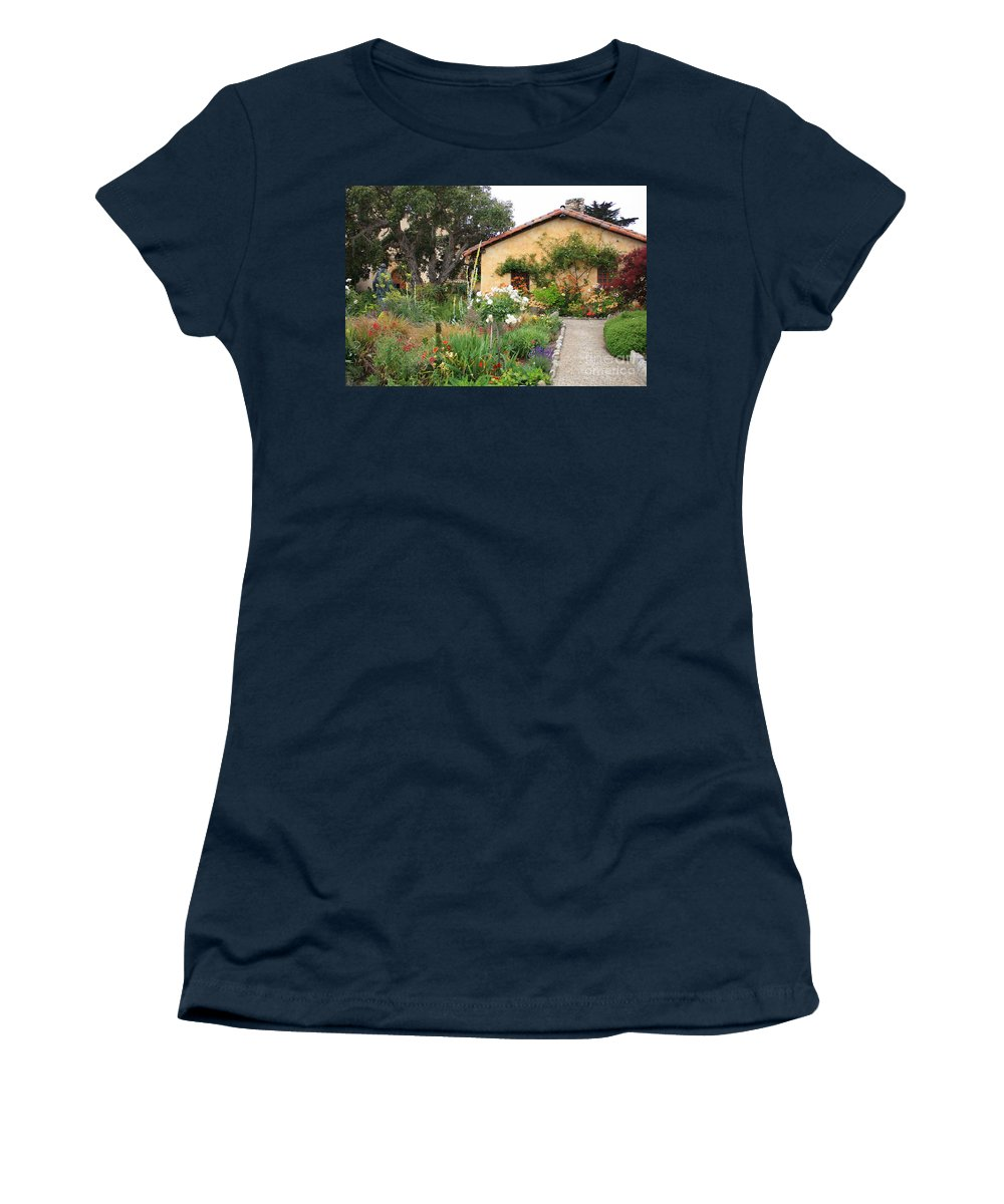Carmel Women's T-Shirt (Athletic Fit) featuring the photograph Carmel Mission With Path by Carol Groenen
