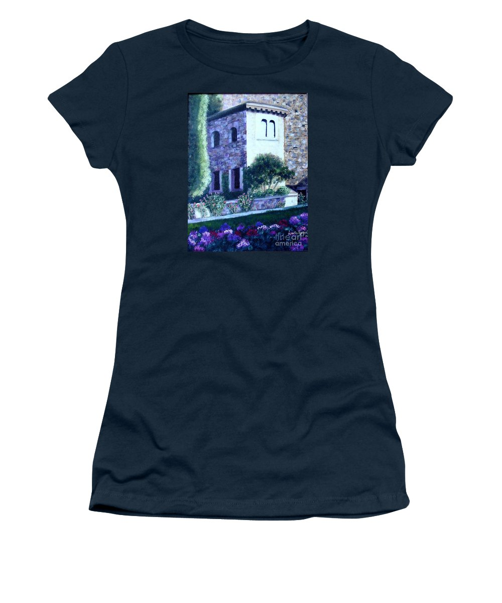 Italy Women's T-Shirt (Athletic Fit) featuring the painting Castle Sestri Levante by Laurie Morgan