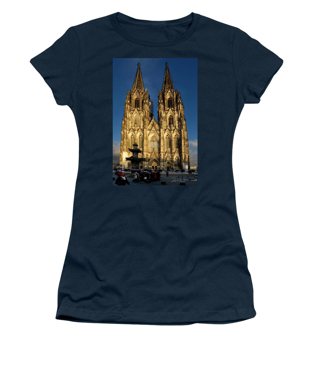 Photography Women's T-Shirt featuring the photograph Cathedral In Cologne by Frederic A Reinecke