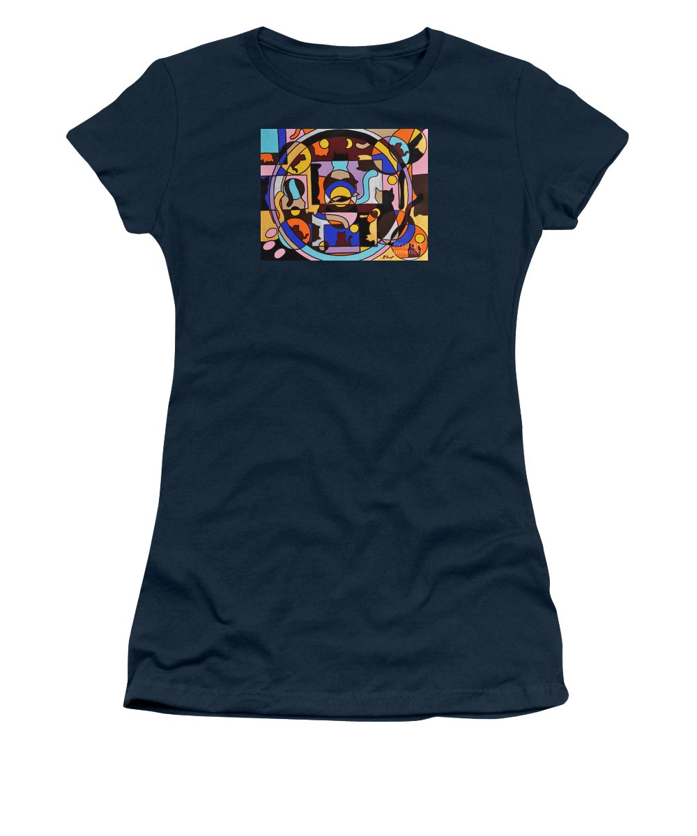Cats Geometric Colorful Abstract Women's T-Shirt featuring the painting Cats In Focus by Reb Frost
