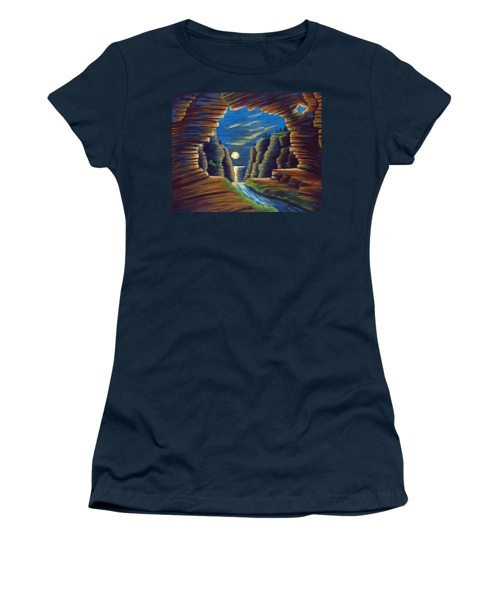 Cave Women's T-Shirt (Athletic Fit) featuring the painting Cave With Cliffs by Jennifer McDuffie