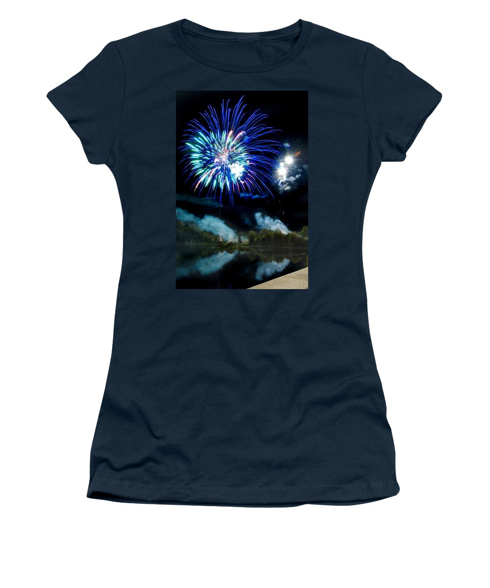 Fireworks Women's T-Shirt (Athletic Fit) featuring the photograph Celebration II by Greg Fortier