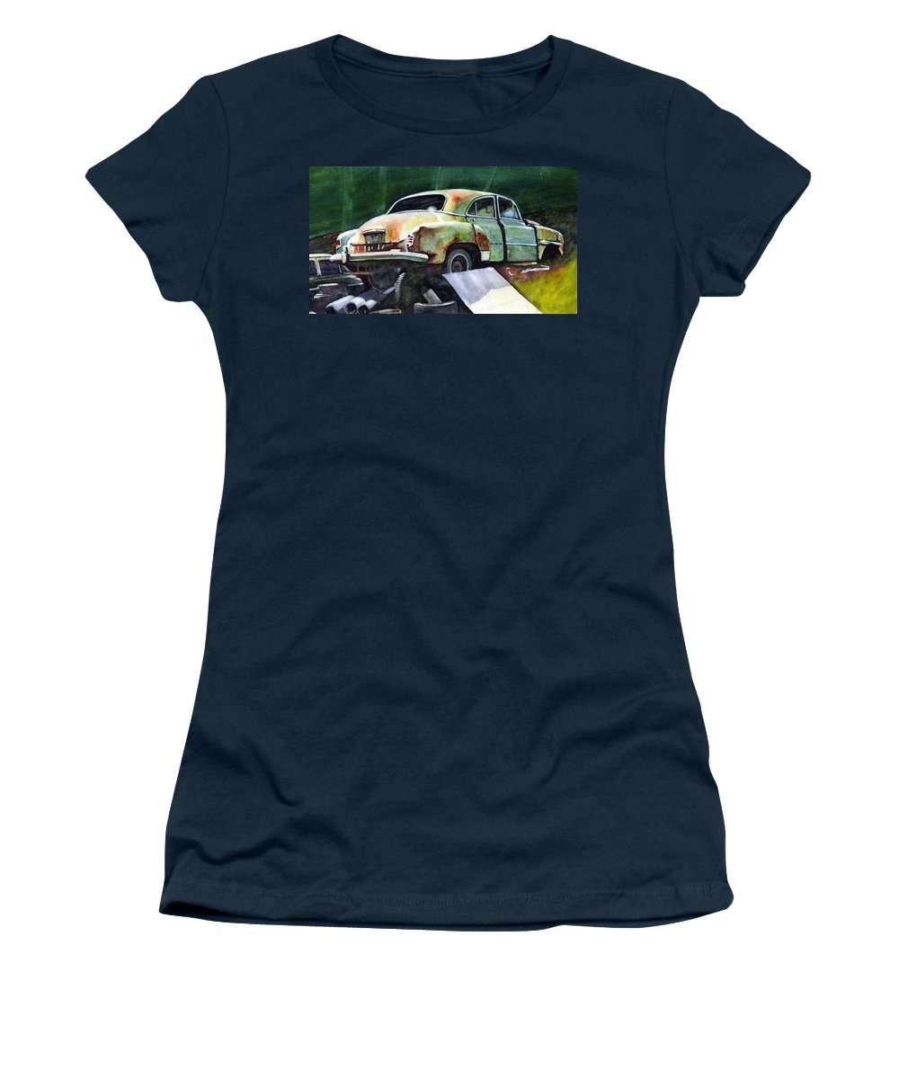 Chev Women's T-Shirt featuring the painting Chev at Rest by Ron Morrison