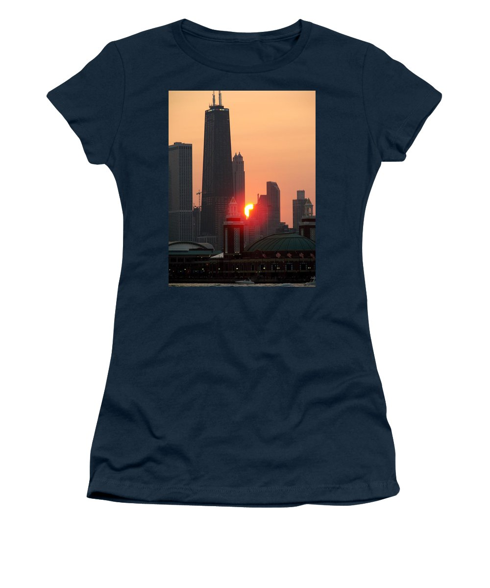 Photography Women's T-Shirt featuring the photograph Chicago Sunset by Glory Fraulein Wolfe