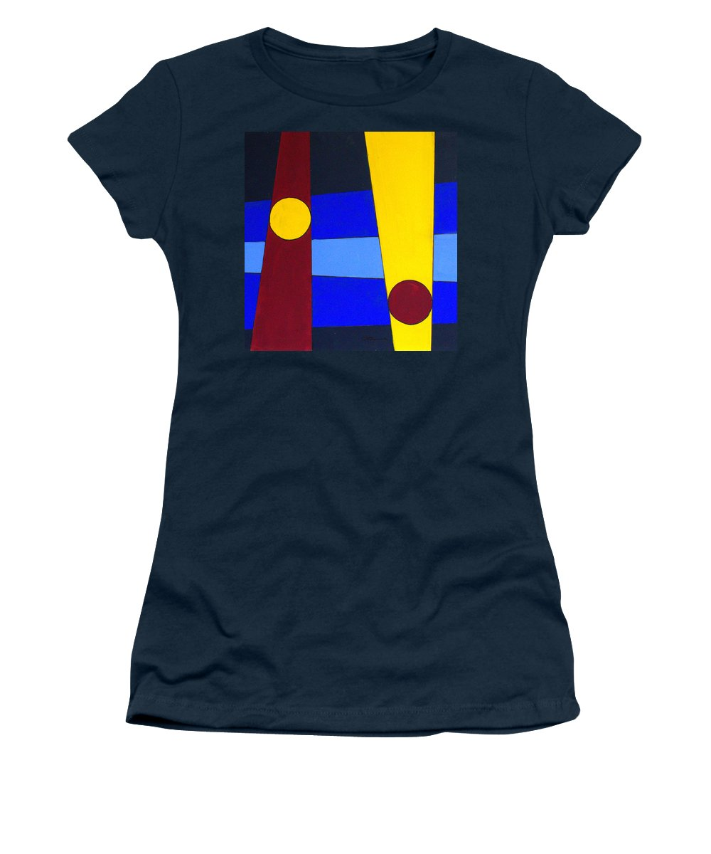 Abstract Women's T-Shirt (Athletic Fit) featuring the painting Circles Lines Color by J R Seymour