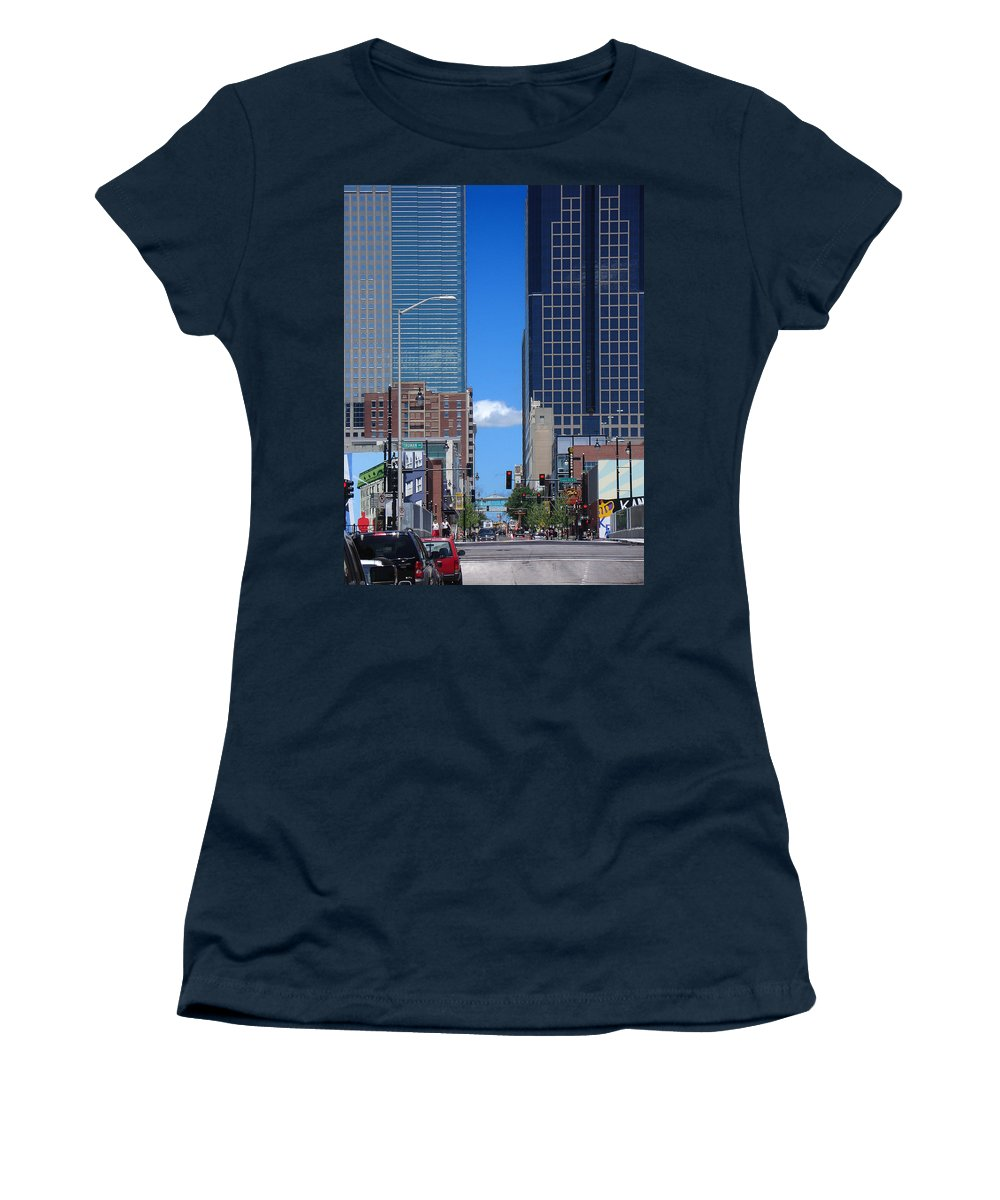 Kansas City Women's T-Shirt (Athletic Fit) featuring the photograph City Street Canyon by Steve Karol
