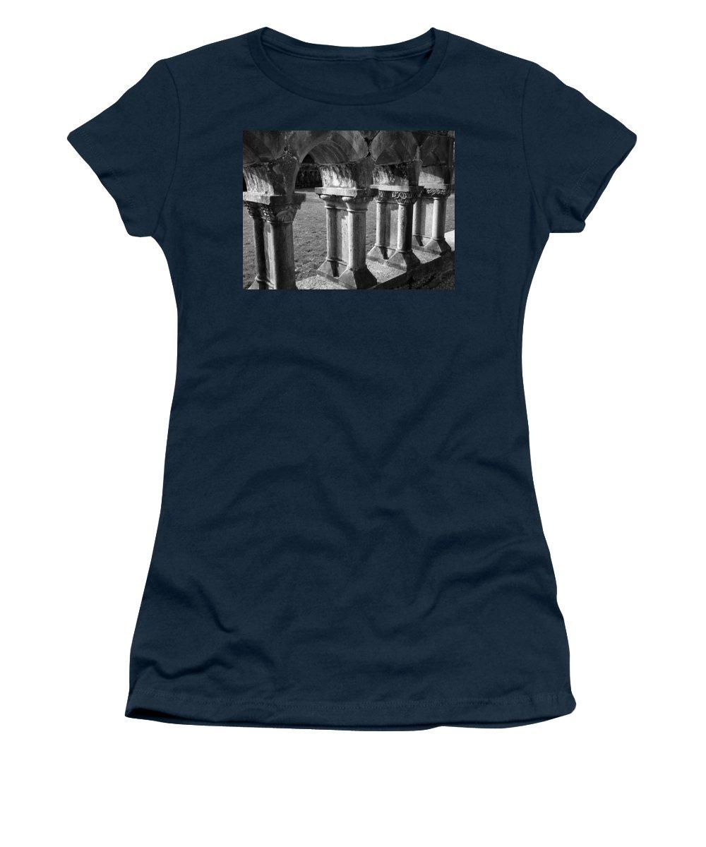 Irish Women's T-Shirt featuring the photograph Cloister At Cong Abbey Cong Ireland by Teresa Mucha