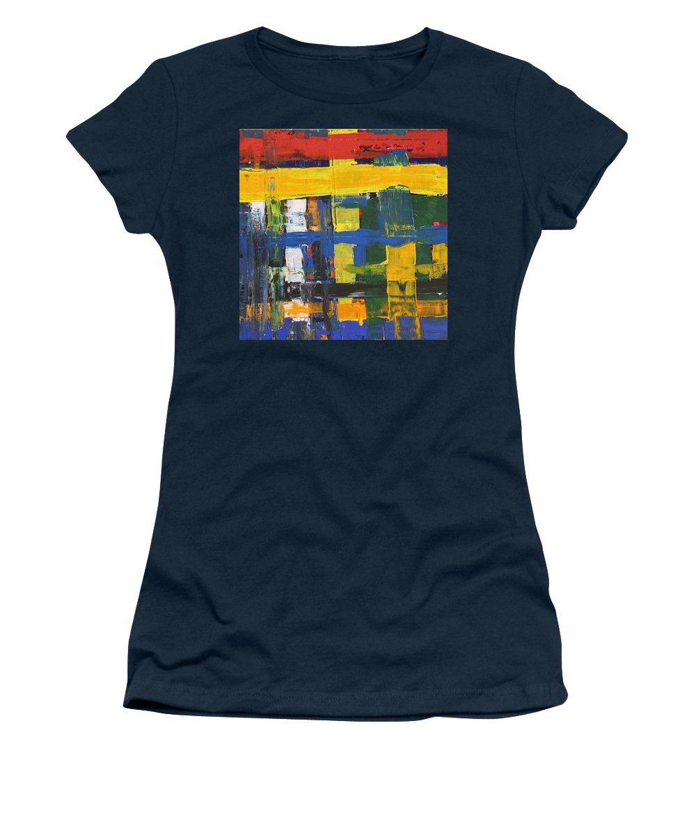 Red Women's T-Shirt featuring the painting Club House by Pam Roth O'Mara