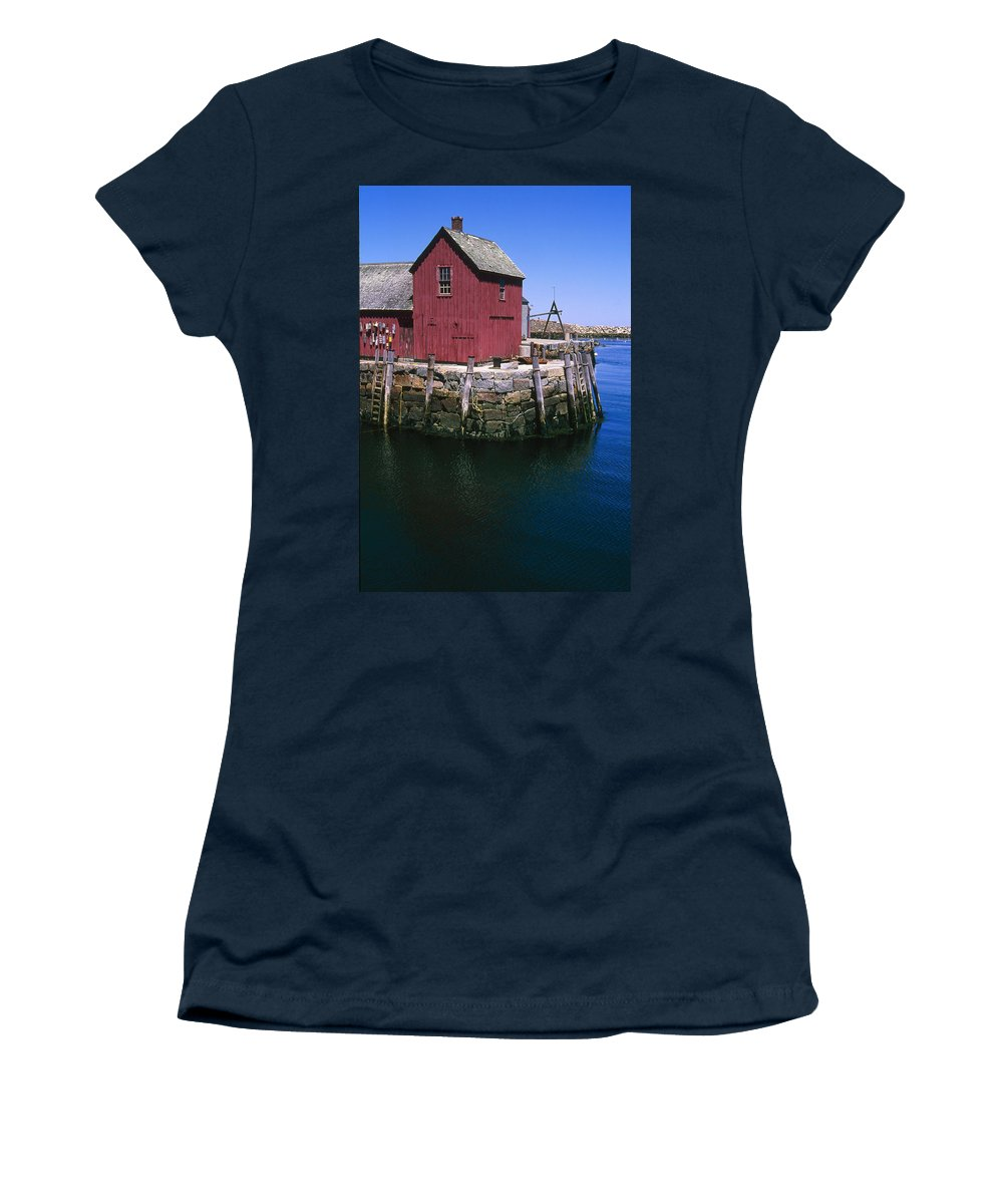 Landscape New England Rockport Motif Number 1 Women's T-Shirt (Athletic Fit) featuring the photograph Cnrf0506 by Henry Butz
