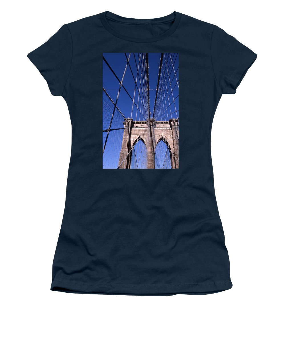 Landscape Brooklyn Bridge New York City Women's T-Shirt featuring the photograph Cnrg0407 by Henry Butz