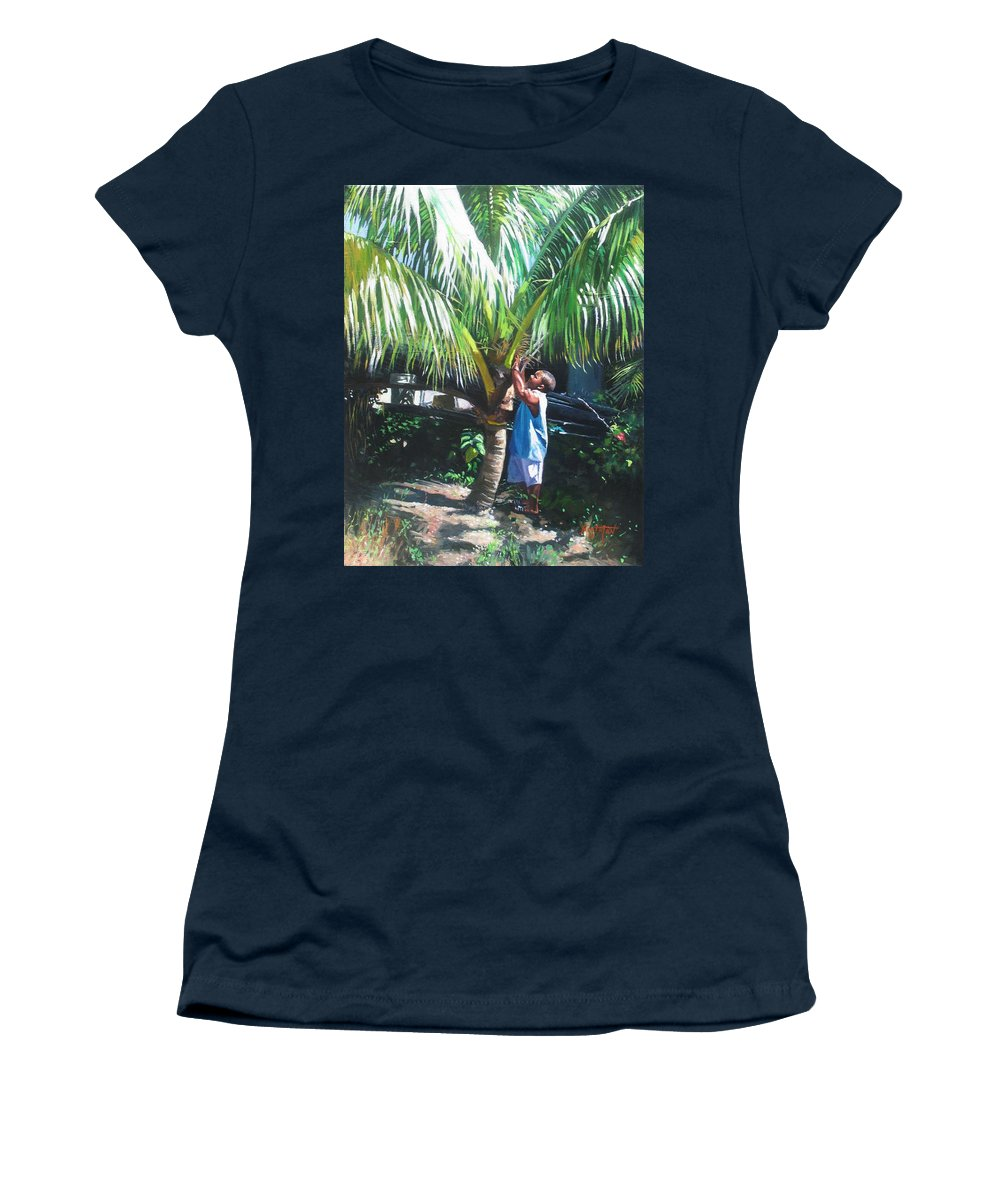 Tree Women's T-Shirt featuring the painting Coconut Shade by Colin Bootman
