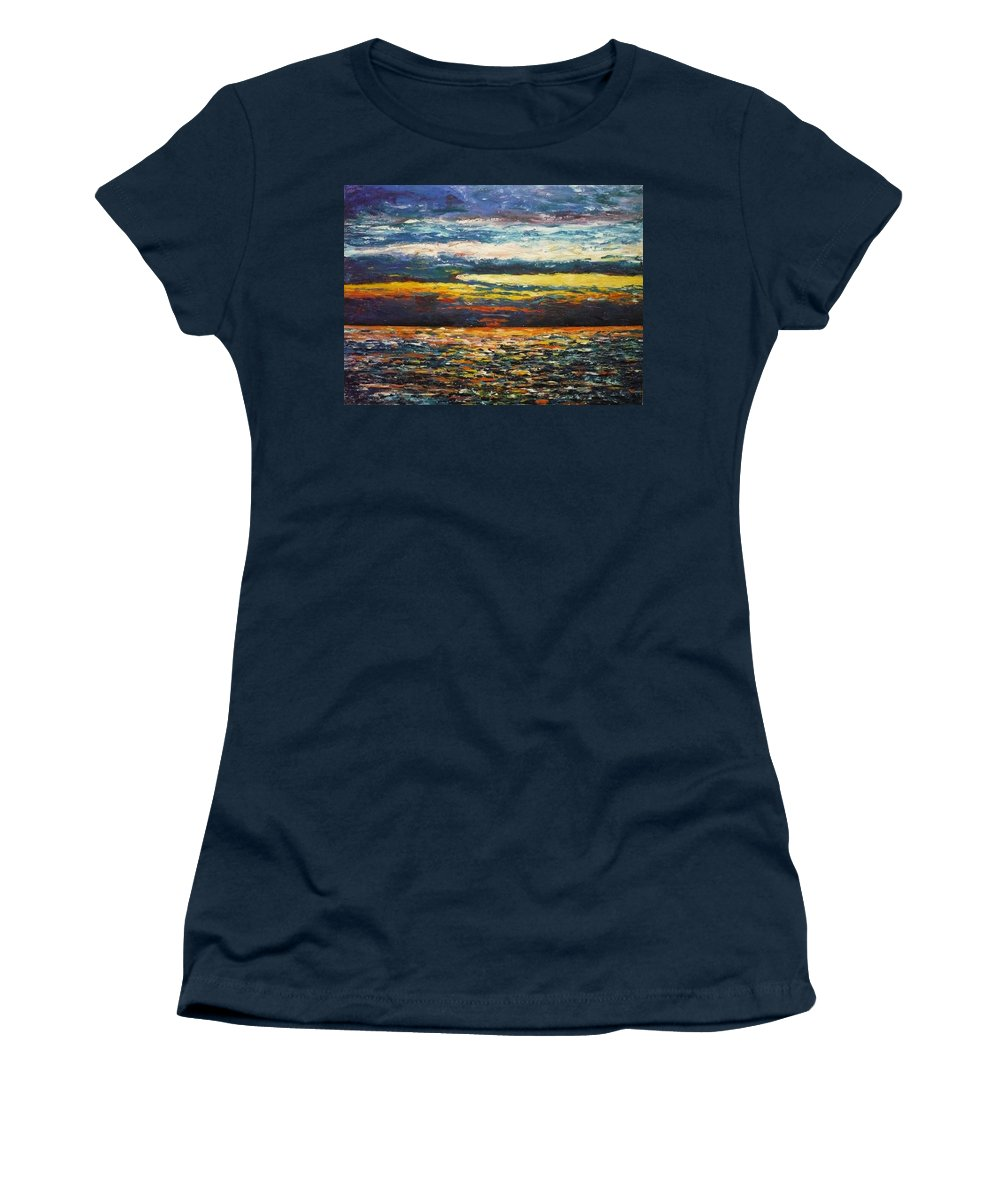 Landscape Women's T-Shirt (Athletic Fit) featuring the painting Cold Sunset by Ericka Herazo