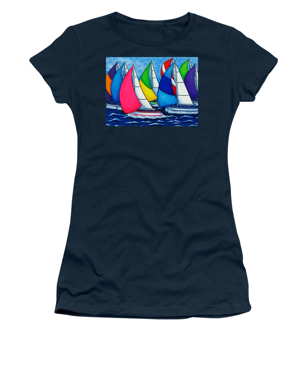 Boats Women's T-Shirt (Athletic Fit) featuring the painting Colourful Regatta by Lisa Lorenz