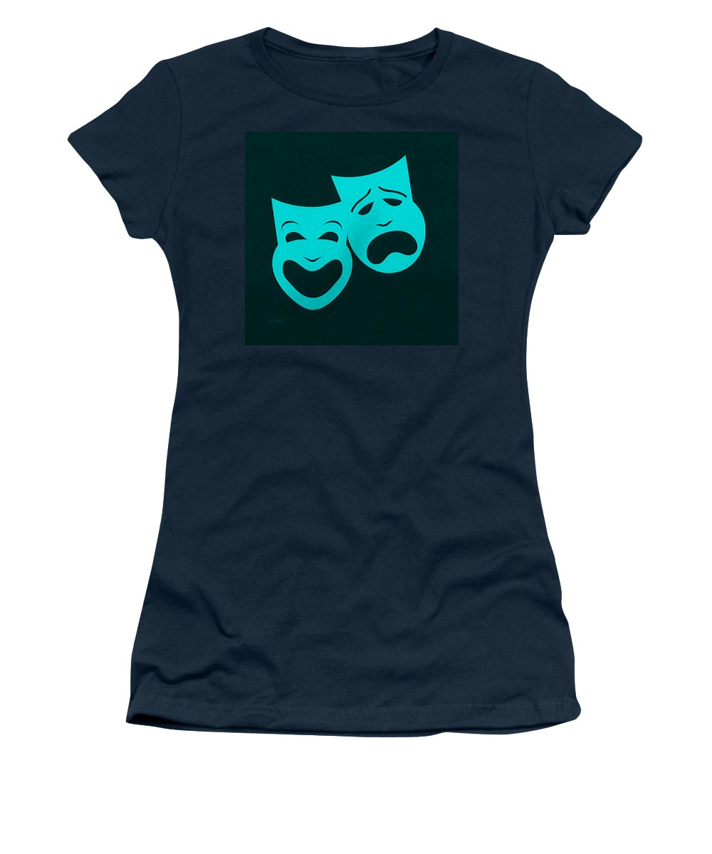 Comedy And Tragedy Women's T-Shirt featuring the photograph Comedy N Tragedy Aquamarine by Rob Hans