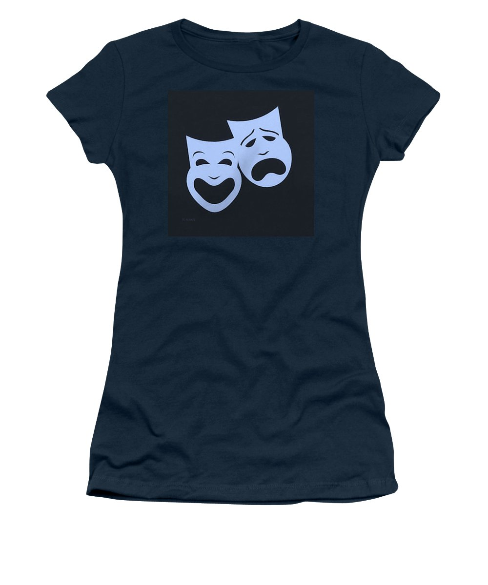 Comedy And Tragedy Women's T-Shirt featuring the photograph Comedy N Tragedy Cyan Blue by Rob Hans