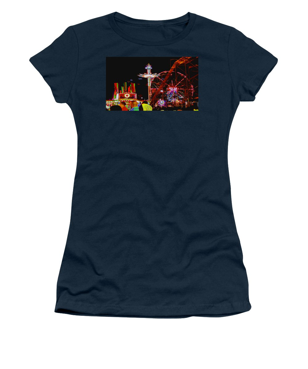 Coney Island Women's T-Shirt (Athletic Fit) featuring the photograph Coney Island Opening Day In Brooklyn New York by Kendall Eutemey