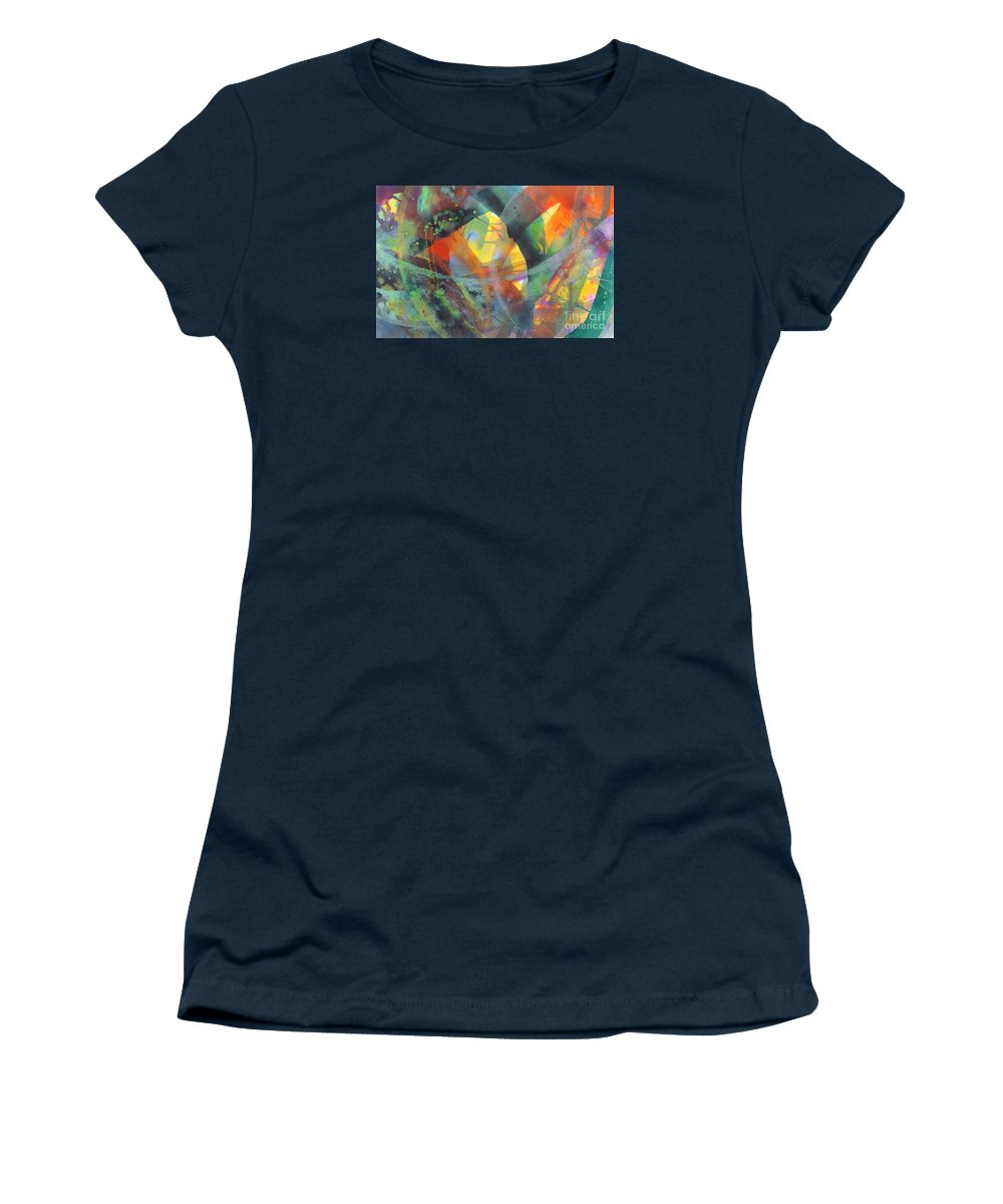 Abstract Women's T-Shirt (Junior Cut) featuring the painting Connections by Lucy Arnold
