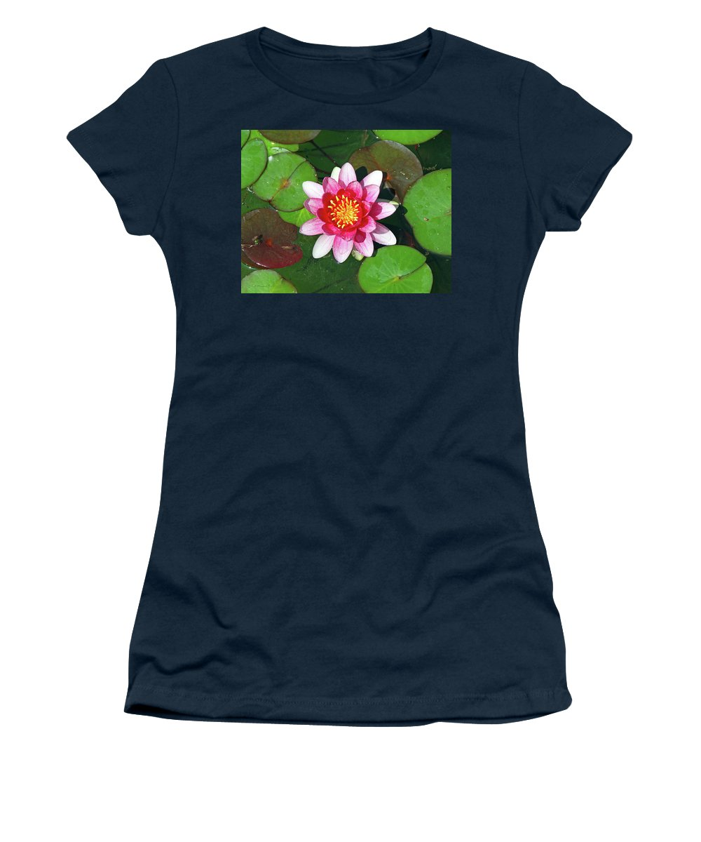 Pink Women's T-Shirt (Athletic Fit) featuring the photograph Conqueror Waterlily by Inspirational Photo Creations Audrey Taylor