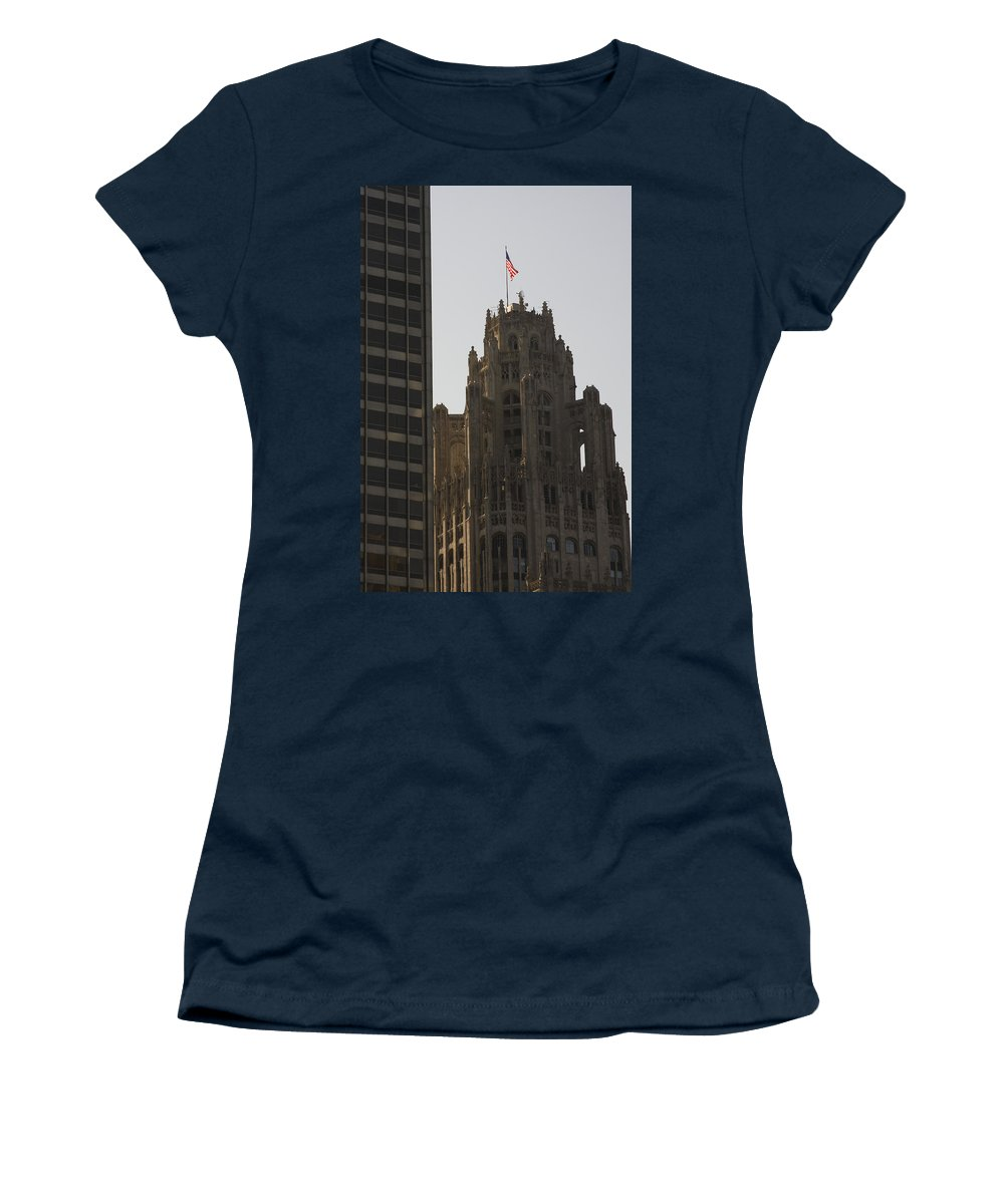 Chicago Windy City Tall Building High Big Skyscraper Metro Urban Women's T-Shirt (Athletic Fit) featuring the photograph Contrast by Andrei Shliakhau