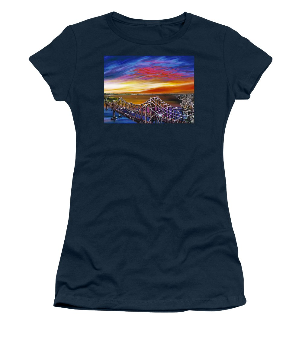 Clouds Women's T-Shirt featuring the painting Cooper River Bridge by James Christopher Hill