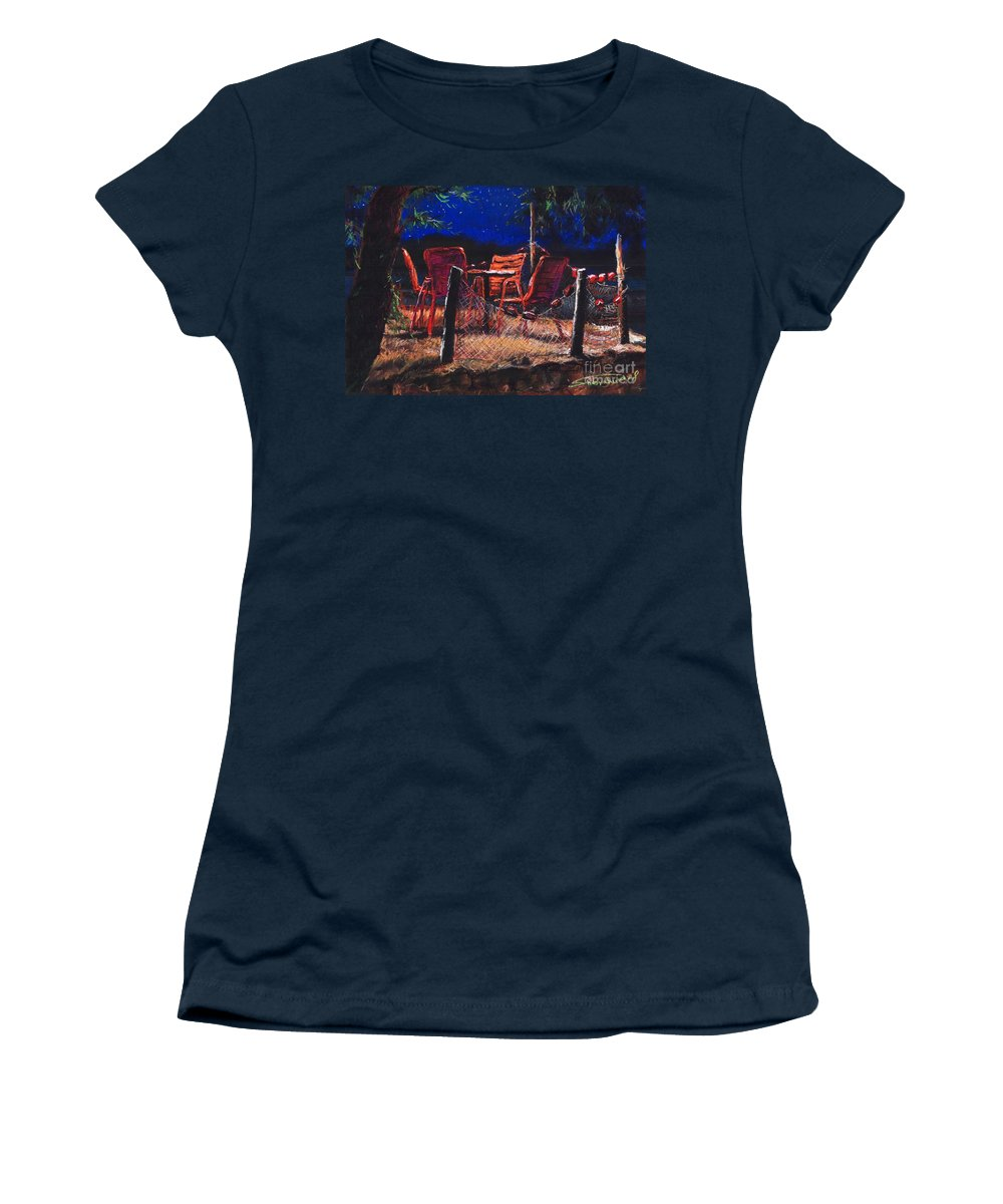 Pastel Women's T-Shirt (Athletic Fit) featuring the painting Croatia Fisherman Restaurant by Yuriy Shevchuk