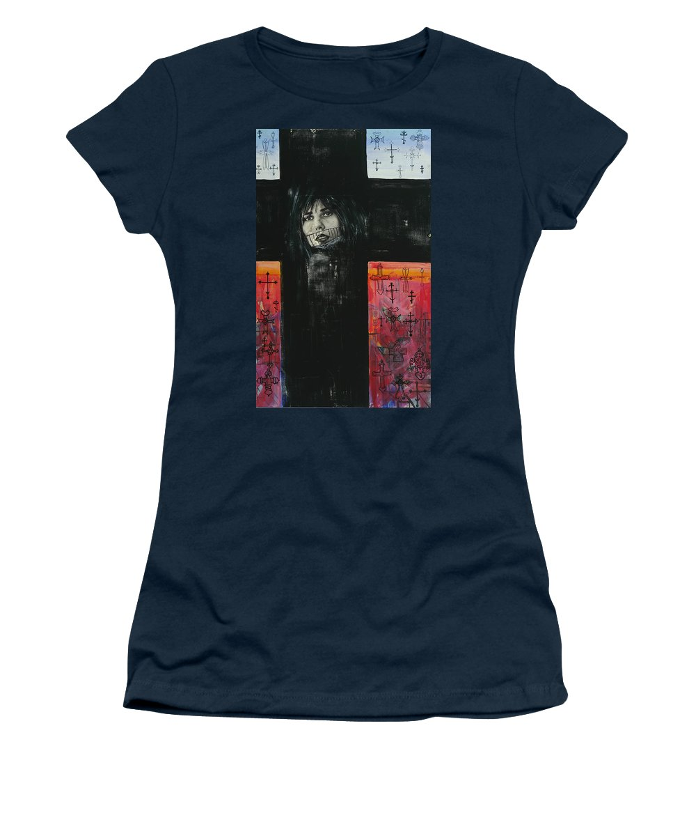 Cross Women's T-Shirt (Athletic Fit) featuring the painting Crossroad by Yelena Tylkina