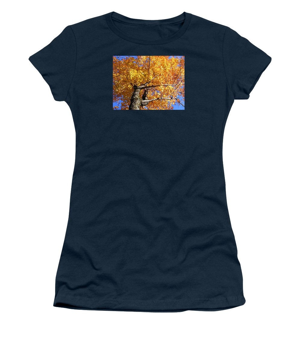 Trees Women's T-Shirt (Athletic Fit) featuring the photograph Crown Fire by Dave Martsolf
