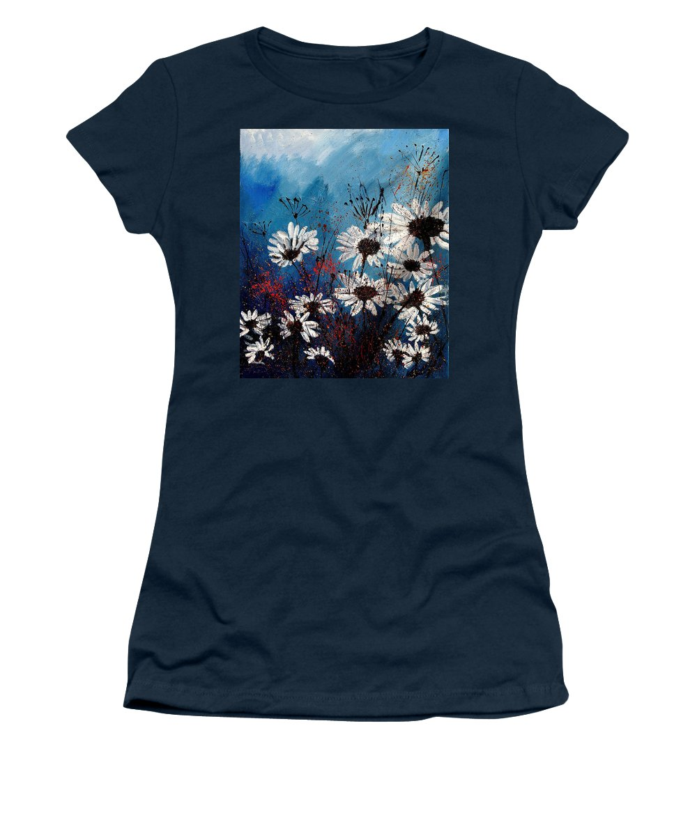 Flowers Women's T-Shirt (Athletic Fit) featuring the painting Daisies 59060 by Pol Ledent