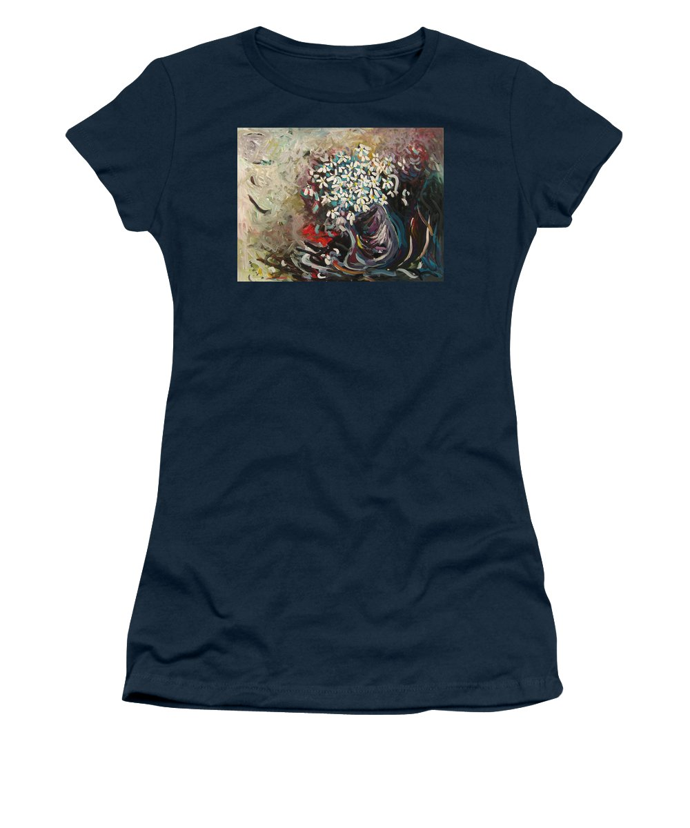 Daisy Paintings Women's T-Shirt (Athletic Fit) featuring the painting Daisy In Vase3 by Seon-Jeong Kim