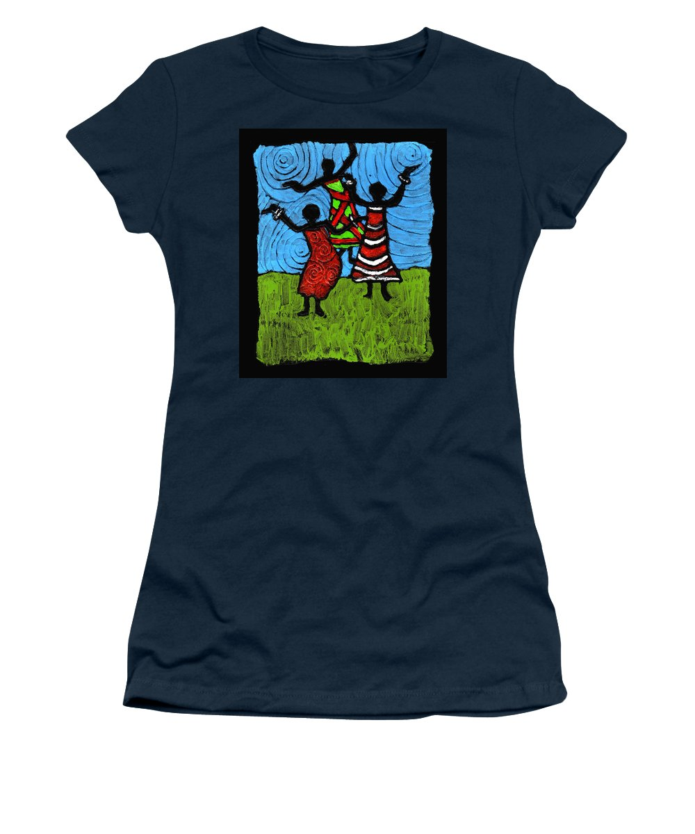Black Art Women's T-Shirt (Athletic Fit) featuring the painting Dancing So Good I Started To Fly by Wayne Potrafka
