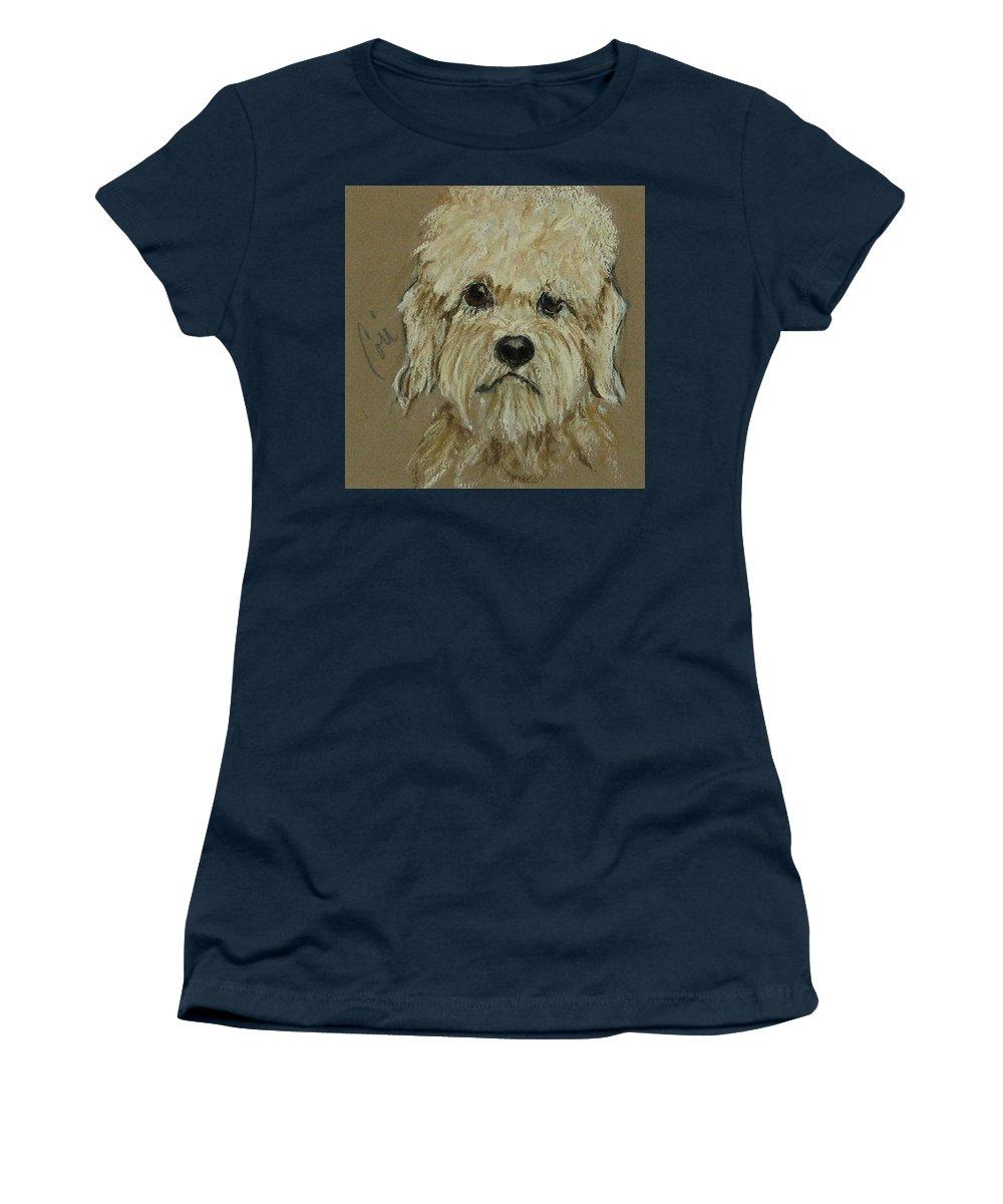Dandie Dinmont Terrier Women's T-Shirt featuring the drawing Dandie by Cori Solomon