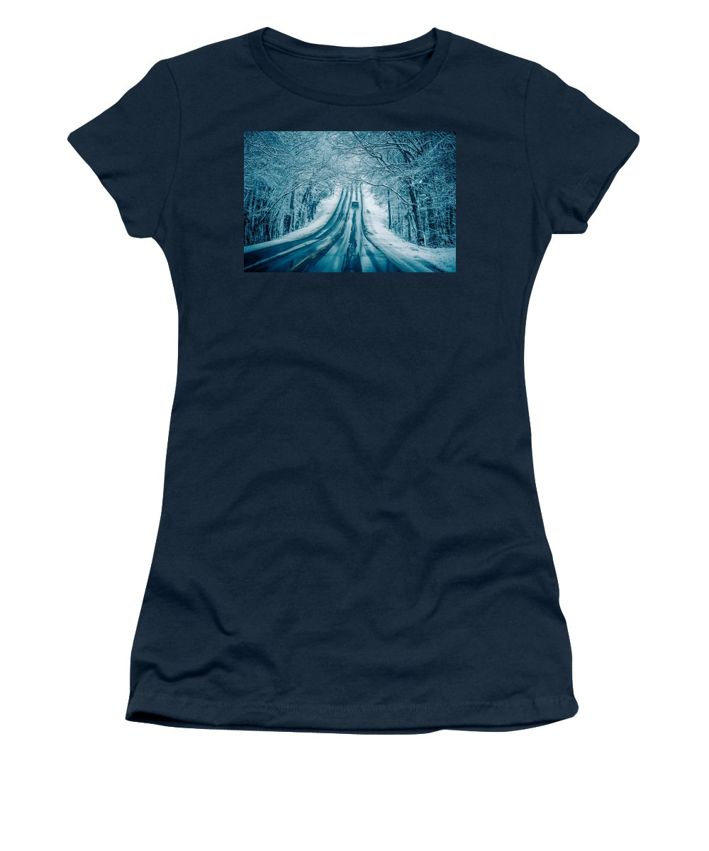 Road Women's T-Shirt featuring the photograph Dangerous Slippery And Icy Road Conditions by Alex Grichenko