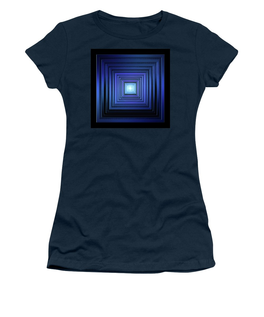 Geometric Women's T-Shirt (Athletic Fit) featuring the digital art Deep Blue Solstice by Andy Young