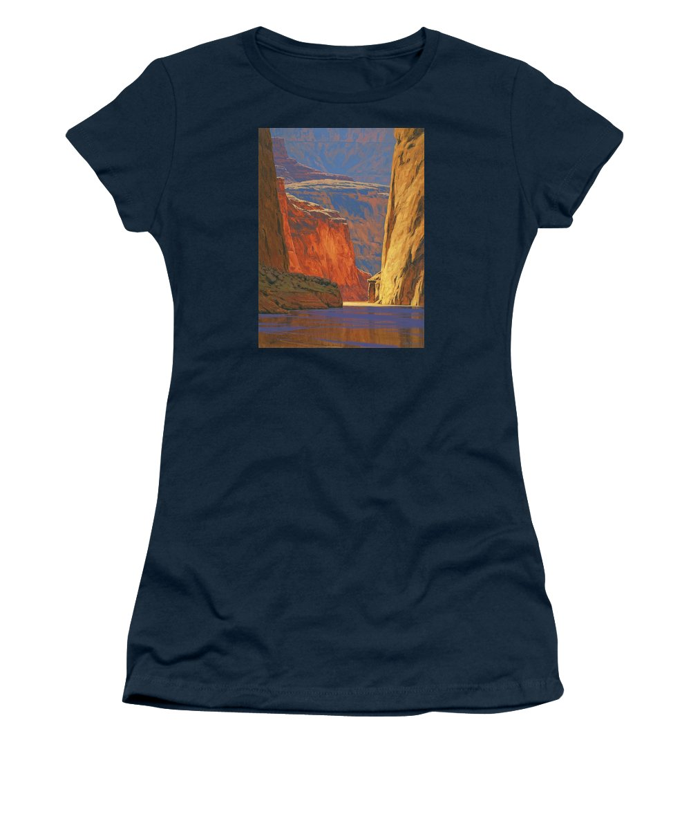 Grand Canyon Women's T-Shirt featuring the painting Deep in the Canyon by Cody DeLong