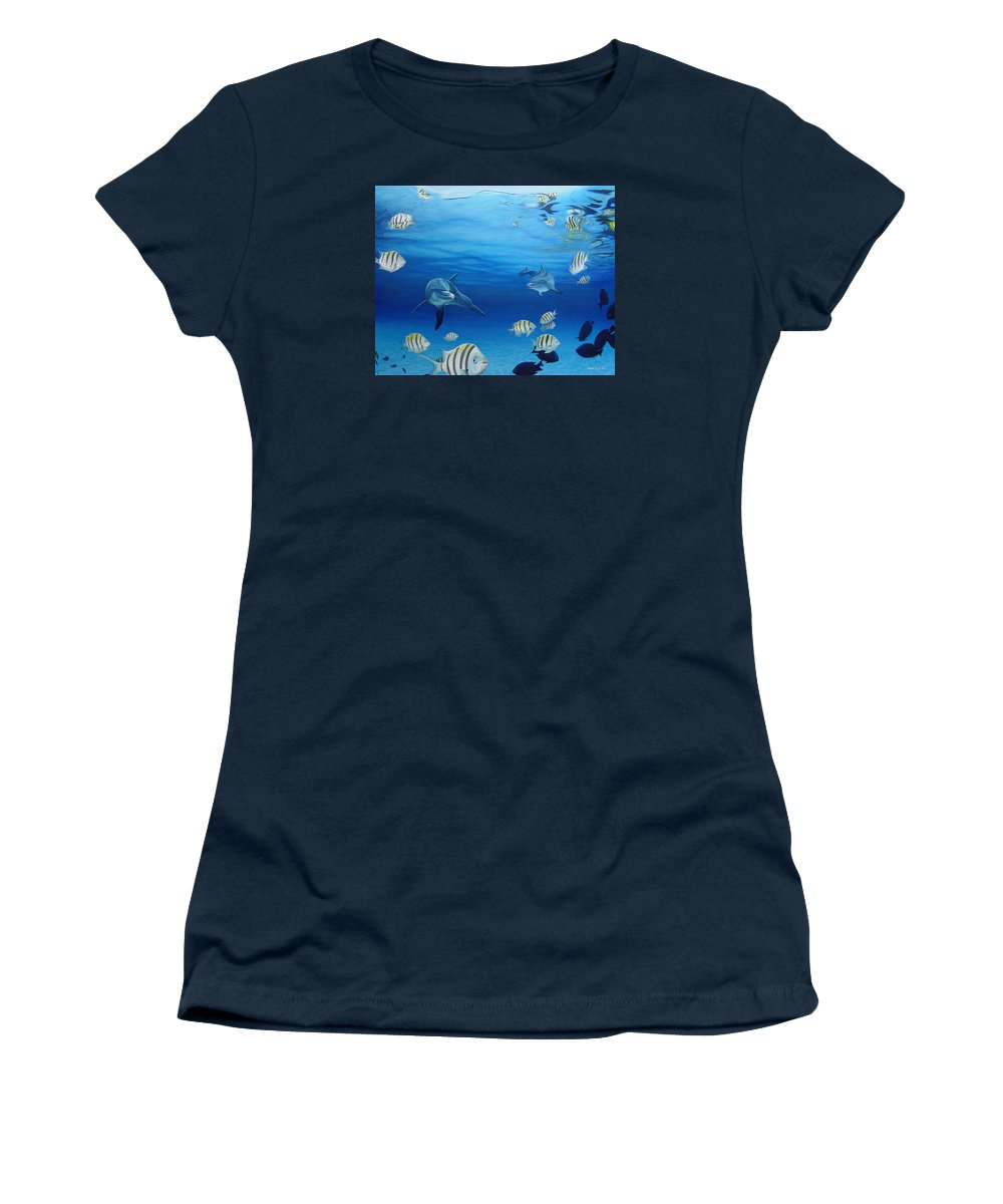Seascape Women's T-Shirt featuring the painting Delphinus by Angel Ortiz