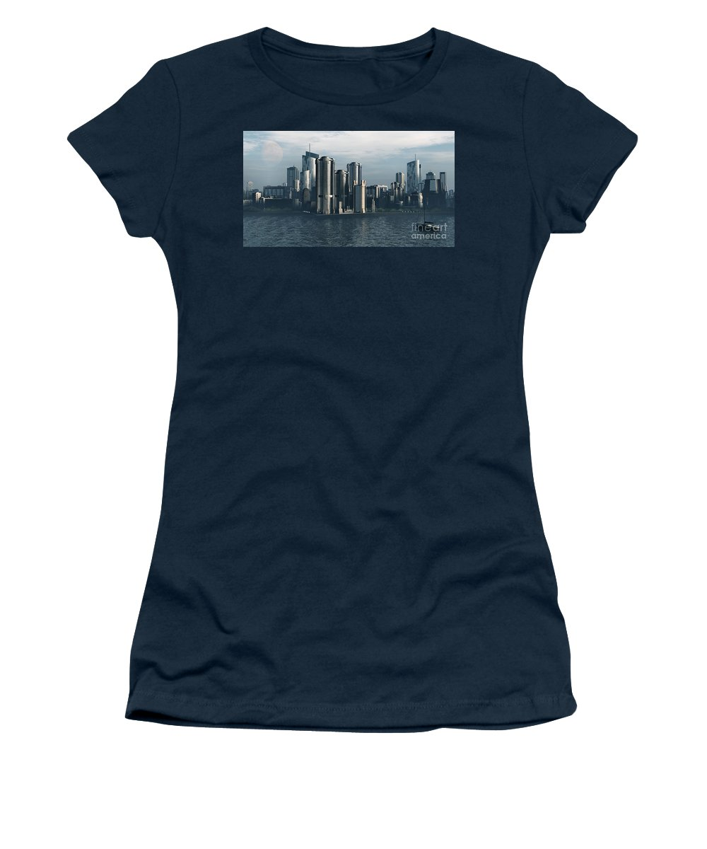 Futurism Women's T-Shirt featuring the digital art Destiny by Richard Rizzo