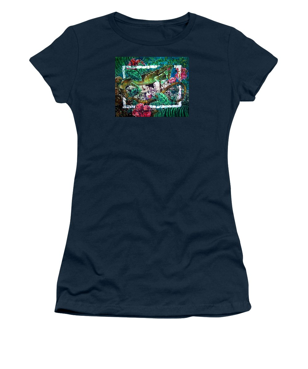 Iguana Women's T-Shirt (Athletic Fit) featuring the painting Dining At The Hibiscus Cafe - Iguana by Sue Duda