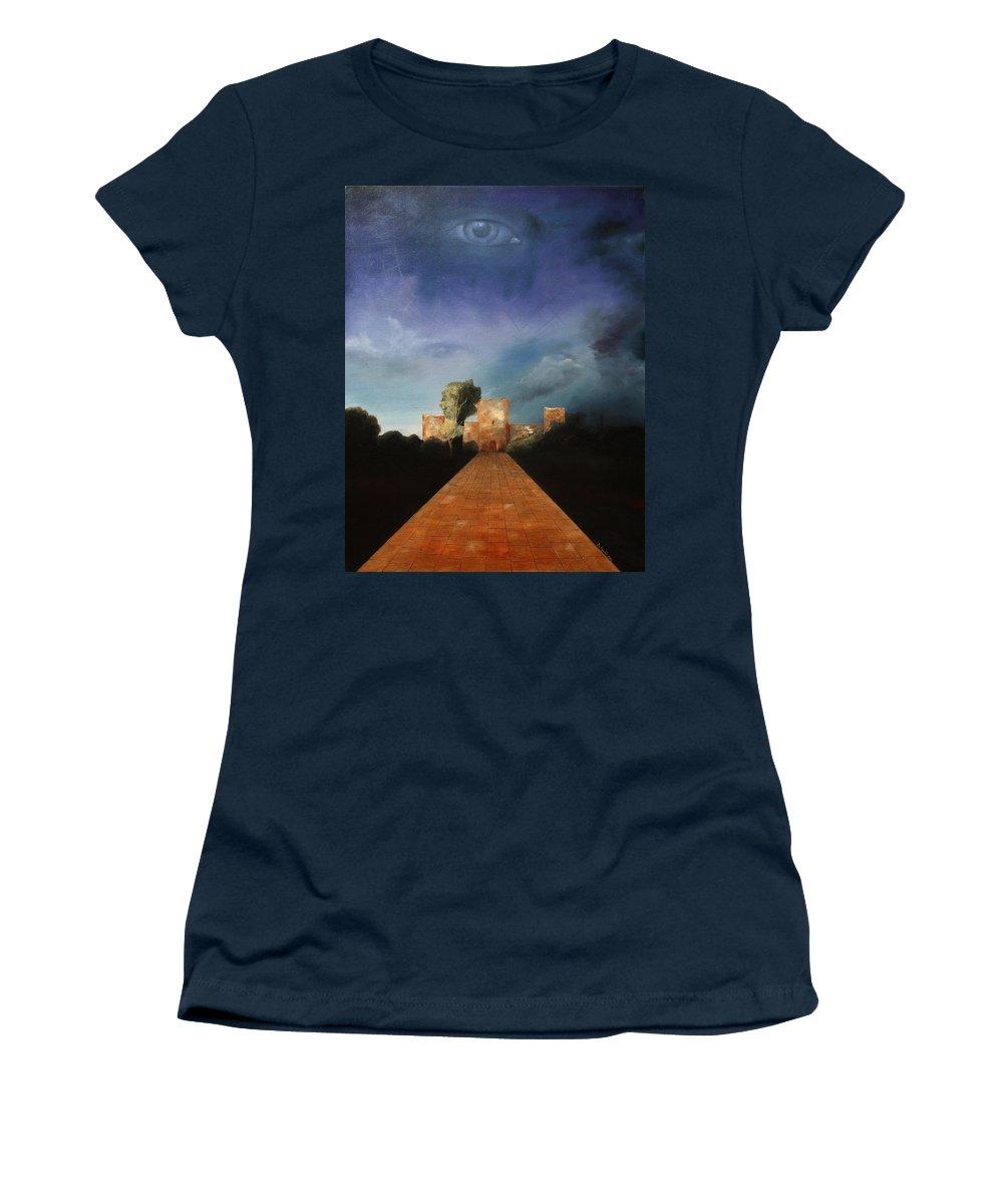 Disclosure Of The Hidden Women's T-Shirt featuring the painting Disclosure Of The Hidden by Darko Topalski